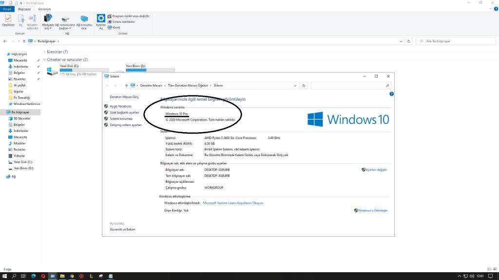 Windows 10 Pro Versiyon
