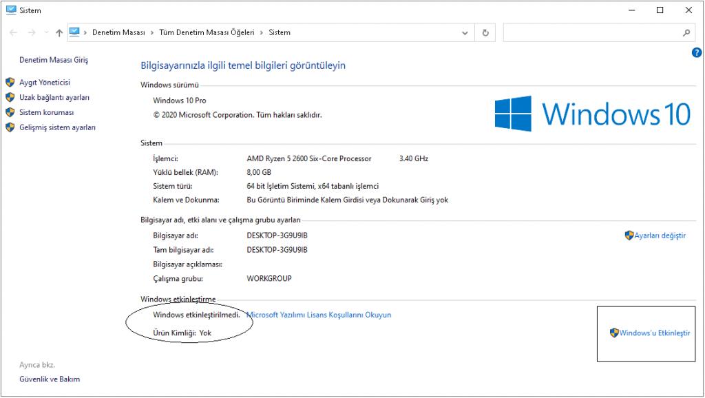 Windows Ürün Kimliği Yok
