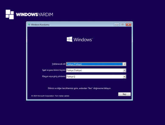 Windows 10 Format Atarken Bölge ve Dil Seçimi