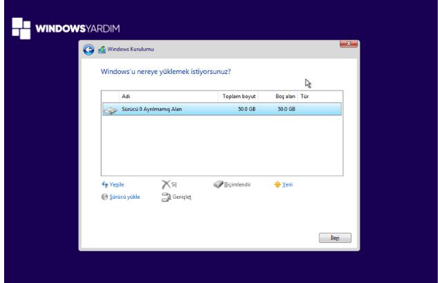 Windows Yükleme İçin Disk Bölme Ve Biçimlendirme