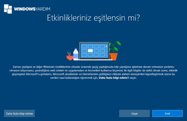 Windows 10 Etkinlik Eşitleme