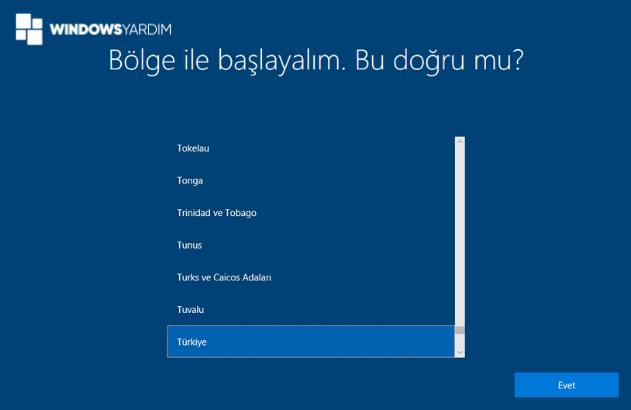Windows 10 Format Sonrası Bölge Seçimi