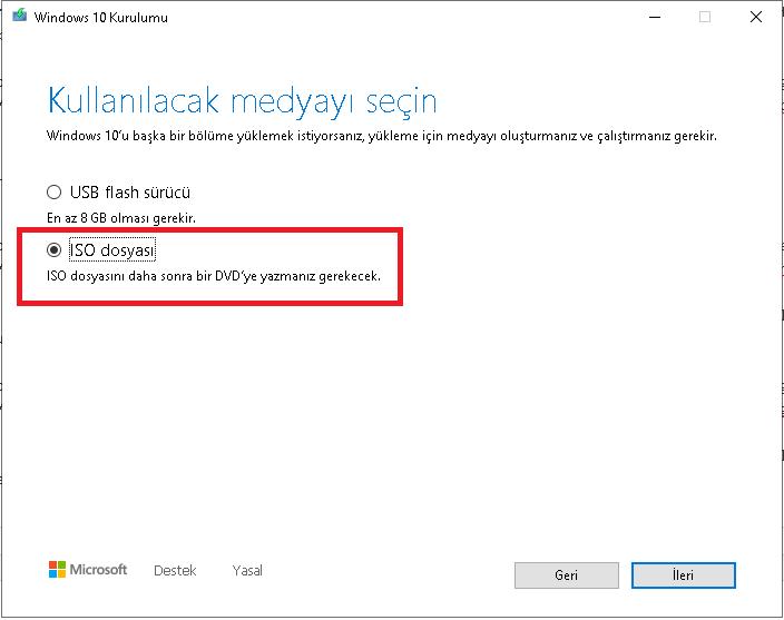 Windows 10 ISO Dosyası İndirme