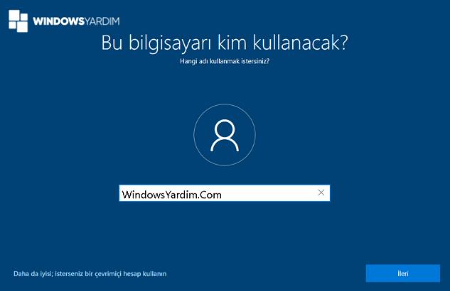 Windows 10 Kullanıcı Hesabı
