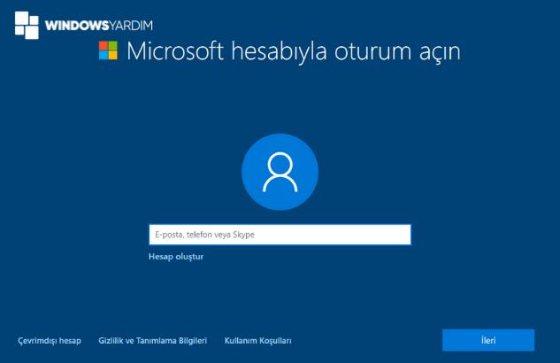 Windows 10 Çevrimdışı Hesap